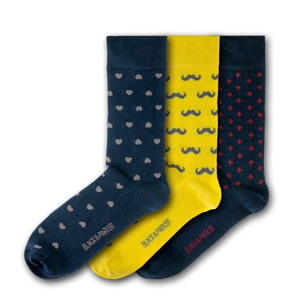 Sada 3 párov unisex ponožiek Black&Parker London Probus Gardens, veľkosť 37 - 43