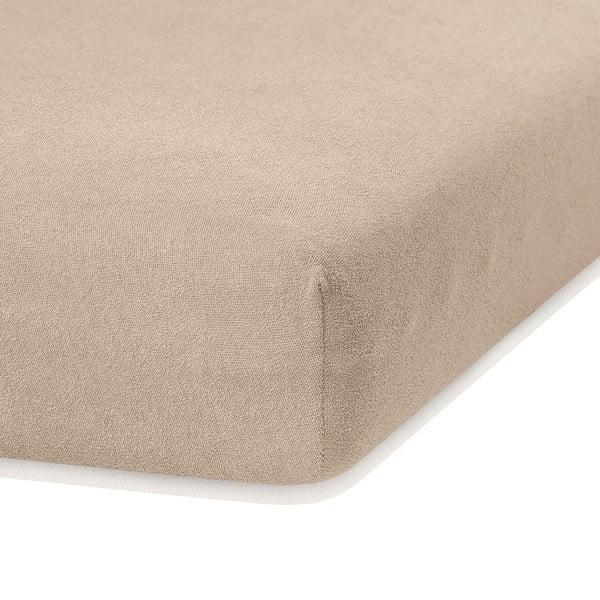 Ciemnobeżowe prześcieradło elastyczne z dużym dodatkiem bawełny AmeliaHome Ruby, 200x140-160 cm
