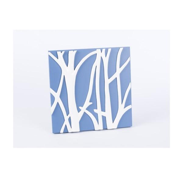 Dřevěný obraz Branch 30x30 cm, modrý