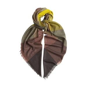Šátek z kašmíru a hedvábí Hogarth Gradient Citronelle, 120x120cm