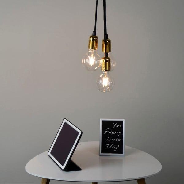 Závěsné svítidlo se 3 černými kabely a zlatou objímkou Bulb Attack Uno Group