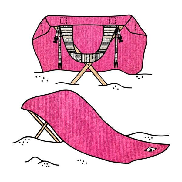 Skládací plážové lehátko a osuška v jednom Sun Seat Fuchsia Tribal