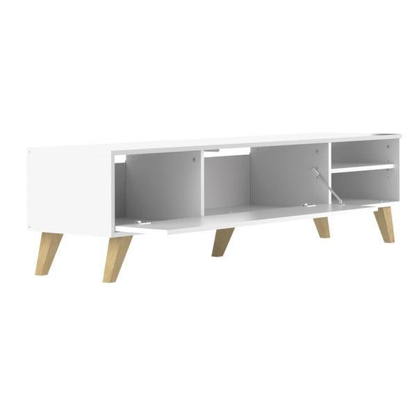 Bílý TV stolek s vyklápěcími dvířky Symbiosis Prism