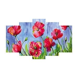 5dílný obraz Poppies