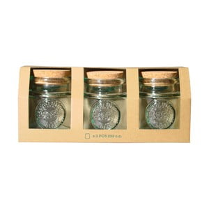 Set 3 borcane, capac din plută Ego Dekor Authentic, 250 ml