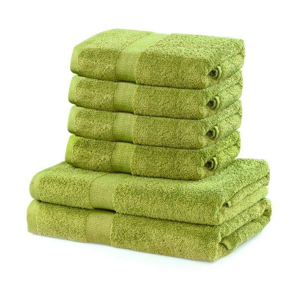 Set 2 prosoape duș și 4 prosoape de mâini din bumbac DecoKing Marina, verde lime