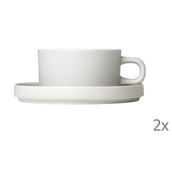 Sada 2 bielych keramických hrnčekov na kávu s tanierikmi Blomus Pilar,170ml