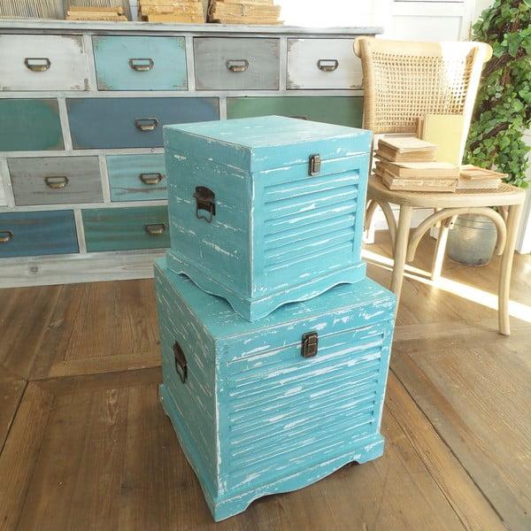 Sada 2 úložných boxů Antique Blue