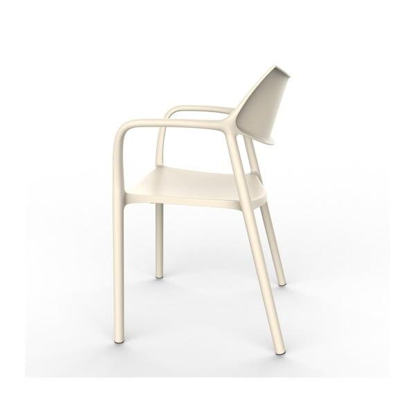 Set 2 scaune de grădină cu cotierei Resol Splash, alb fildeș