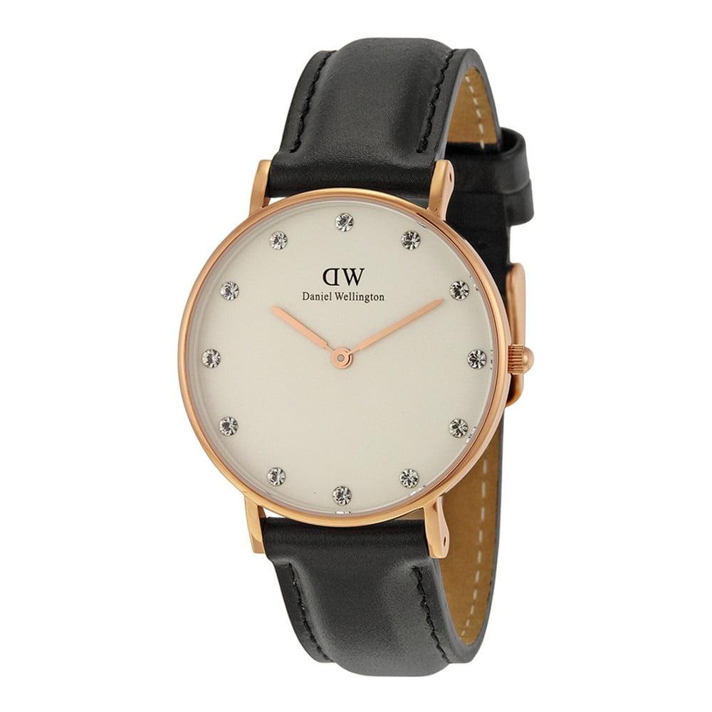 Dámské hodinky s koženým řemínkem a ciferníkem růžovozlaté barvy Daniel Wellington Sheffield, ⌀ 34 mm