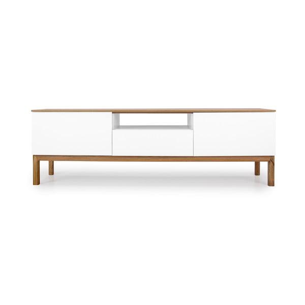 Biała szafka pod TV z detalami w dekorze drewna dębowego Tenzo Patch, szer. 179 cm