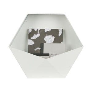Bílá kovová nástěnná dekorace WOOOD, 45 x 39 cm