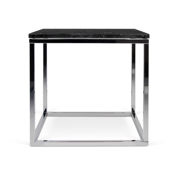 Stolik z chromowaną podstawą i czarnym blatem marmurowym TemaHome Prairie, 50x50cm