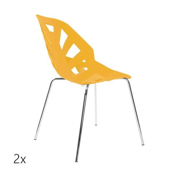 Set 2 světle oranžových židlí Ninja, chromové nohy