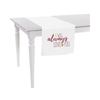 Față de masă îngustă Apolena Always Love You, 40 x 140 cm, alb