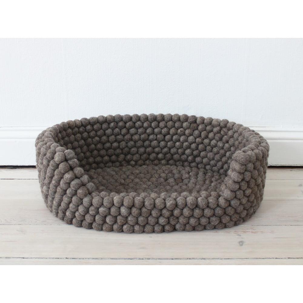 Ořechově hnědý kuličkový vlněný pelíšek pro domácí zvířata Wooldot Ball Pet Basket, 40 x 30 cm