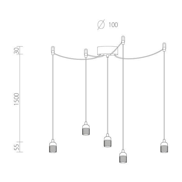 Závěsné svítidlo s 5 bílými kabely a měděnou objímkou Bulb Attack Uno