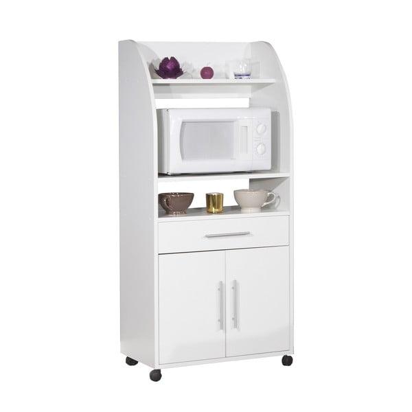Bílý pojízdný kuchyňský úložný systém s policemi Symbiosis Jeanne
