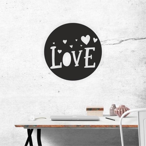 Decorațiune autoadeziva pentru perete, negru, North Carolina Scandinavian Home Decors Love V3, ⌀ 40 cm