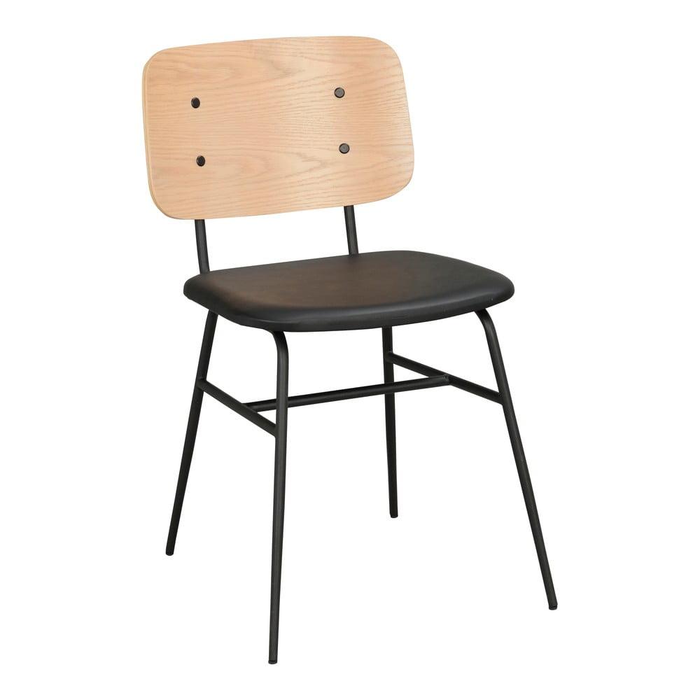 Světle hnědá jídelní židle s černým podsedákem Rowico Brent