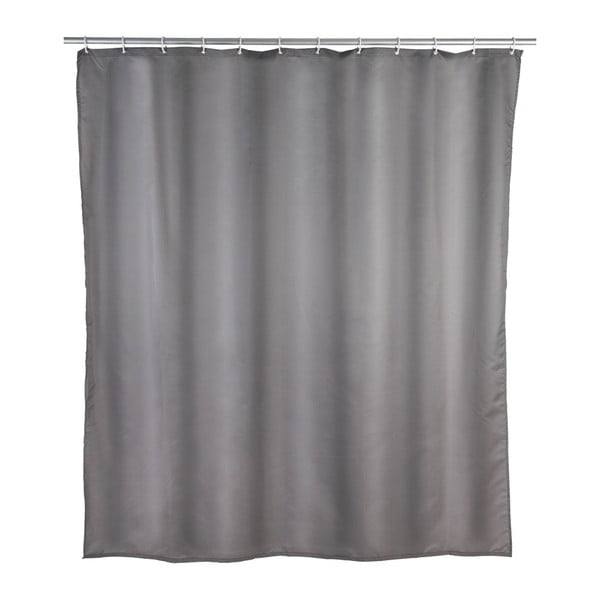 Šedý sprchový závěs Wenko Puro, 180 x 200 cm