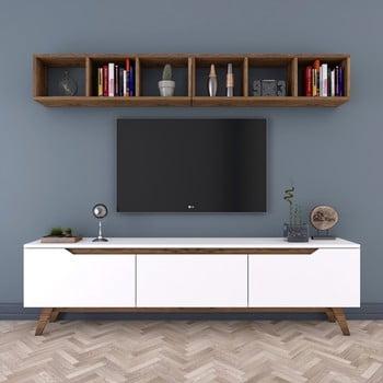 Set comodă TV și 1 etajeră de perete Rani, alb-natural