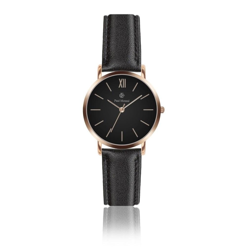 Dámské hodinky s černým koženým řemínkem Paul McNeal, ⌀ 3,6 cm