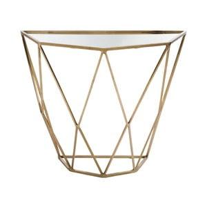 Zlatý konzolový stolek se zrcadlovou deskou J-Line Geometry