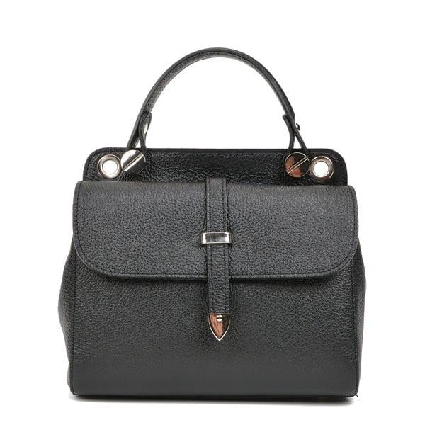 Černá kožená kabelka s 2 kapsami Carla Ferreri