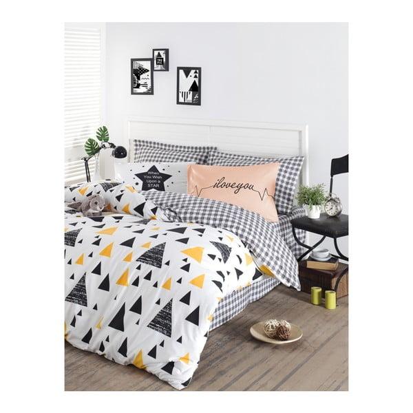 Lenjerie de pat cu cearșaf din bumbac ranforce, pentru pat dublu Mijolnir Ilove Black & Yellow, 200 x 220 cm