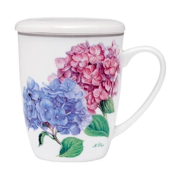 Hrnek z kostního porcelánu s pokličkou a sítkem na sypaný čaj Ashdene Pastel Hydrangeas, 350ml
