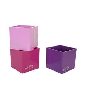 Sada 3 ks středních magnetických květináčů CUBE, fialová