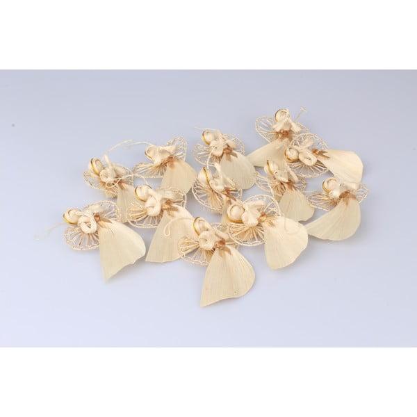 Sada 12 kusů slaměných závěsných ozdob ve tvaru anděla Dakls Lucie, délka 10 cm