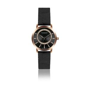 Dámské hodinky s černým páskem z pravé kůže Walter Bach Native