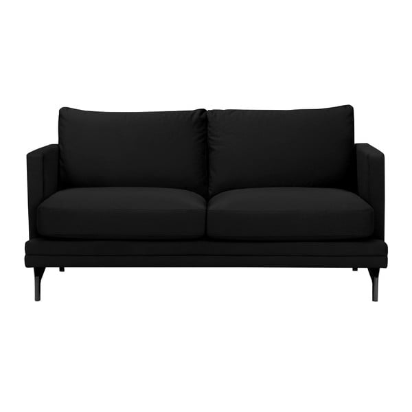 Černá dvojmístná pohovka s podnožím v černé barvě Windsor & Co Sofas Jupiter