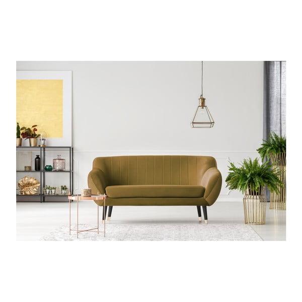 Hořčicově žlutá dvoumístná pohovka s černými nohami Mazzini Sofas Benito