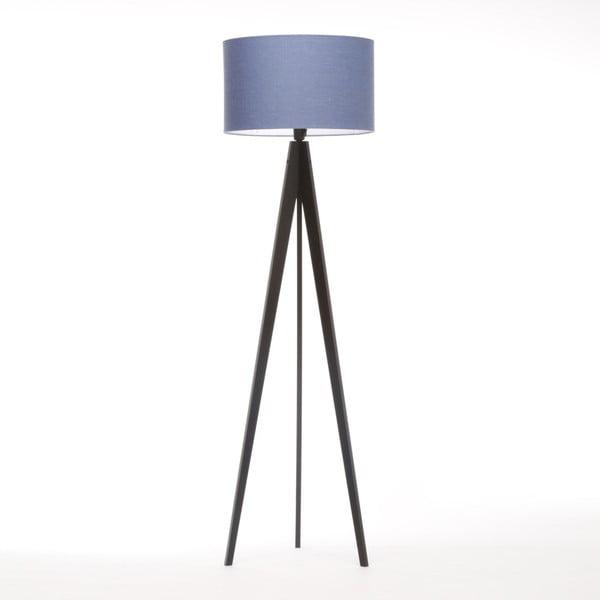 Modrá stojací lampa 4room Artist, černá lakovaná bříza, 150 cm