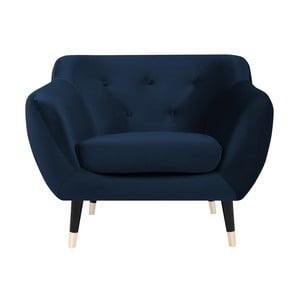 Fotoliu Mazzini Sofas AMELIE cu picioare negre, albastru închis