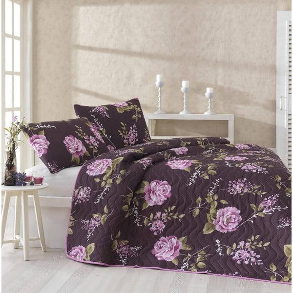 Prošívaný lehký přehoz s povlaky na polštáře Serenay Purple, 200x220 cm