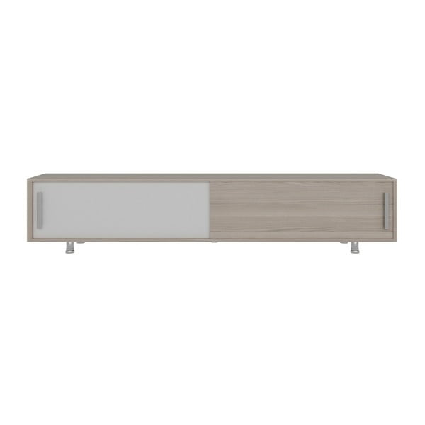 Szafka pod TV w dekorze drewna orzechowego z białymi detalami Nehi Cordoba White