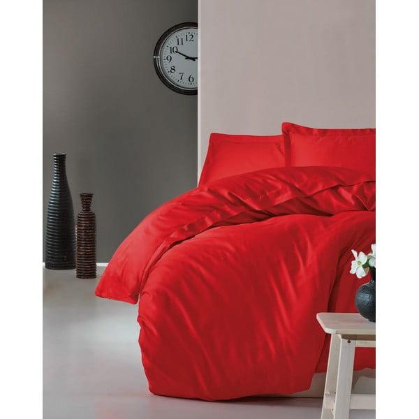 Červené povlečení s prostěradlem na dvoulůžko z bavlněného saténu Cotton Box Elegant Red, 200 x 220 cm