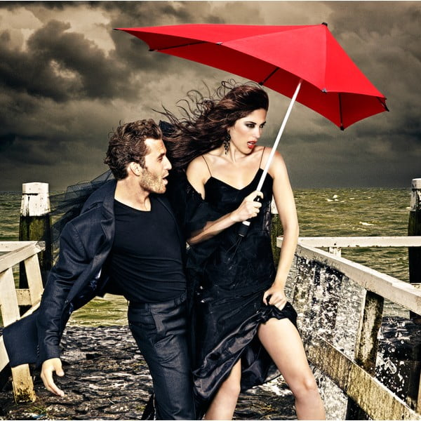Deštník Senz original pure black, odolný vůči větru o rychlosti až 100 km/h