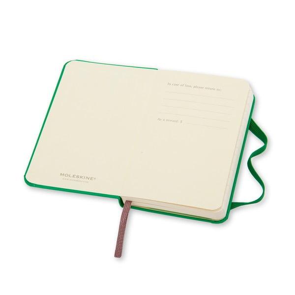 Zářivě zelený minizáépisník Moleskine, linkovaný