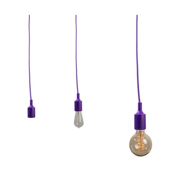 Textilní kabel s objímkou 3 m - fialový