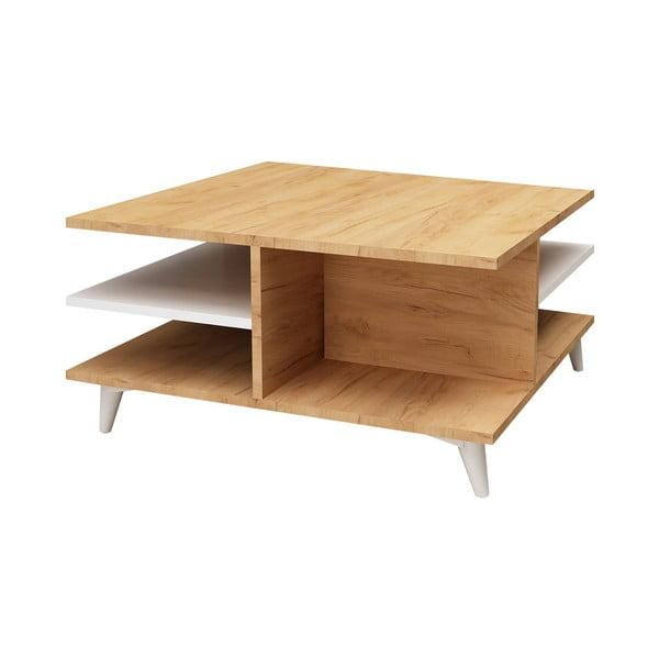 Konferenční stolek s dubovým dekorem a úložným prostoremSkull, 80 x 80 cm