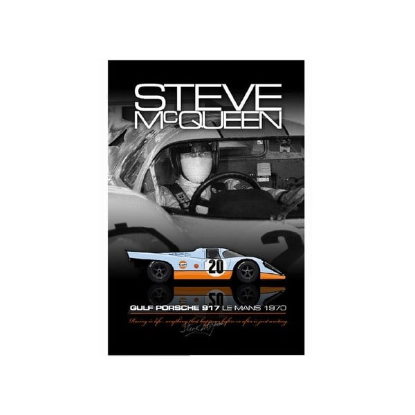 Plakát Steve McQueen mit seinem Gulf Porsche 917, 48x33 cm