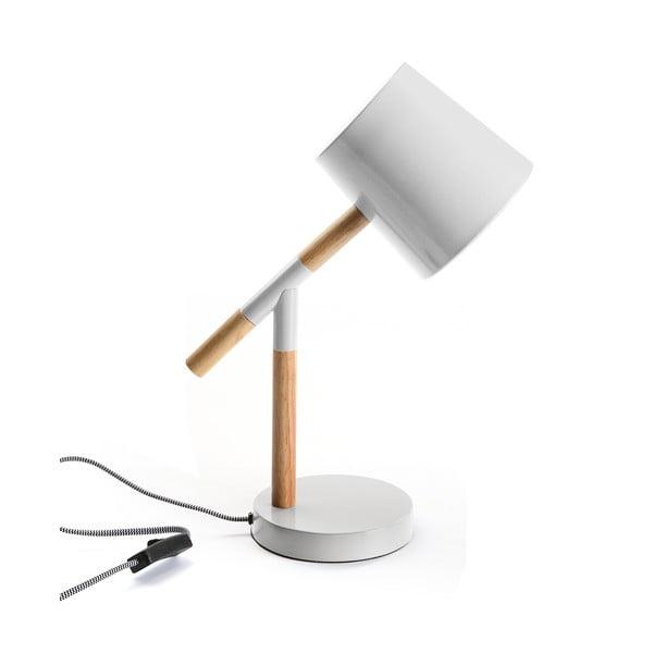 Bílá stolní lampa s dřevěnými detaily Versa Wood&White