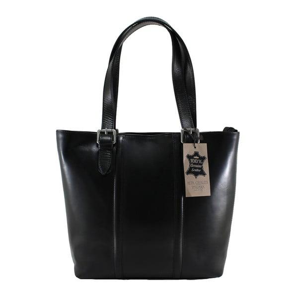 Černá kožená kabelka Chicca Borse Fiona