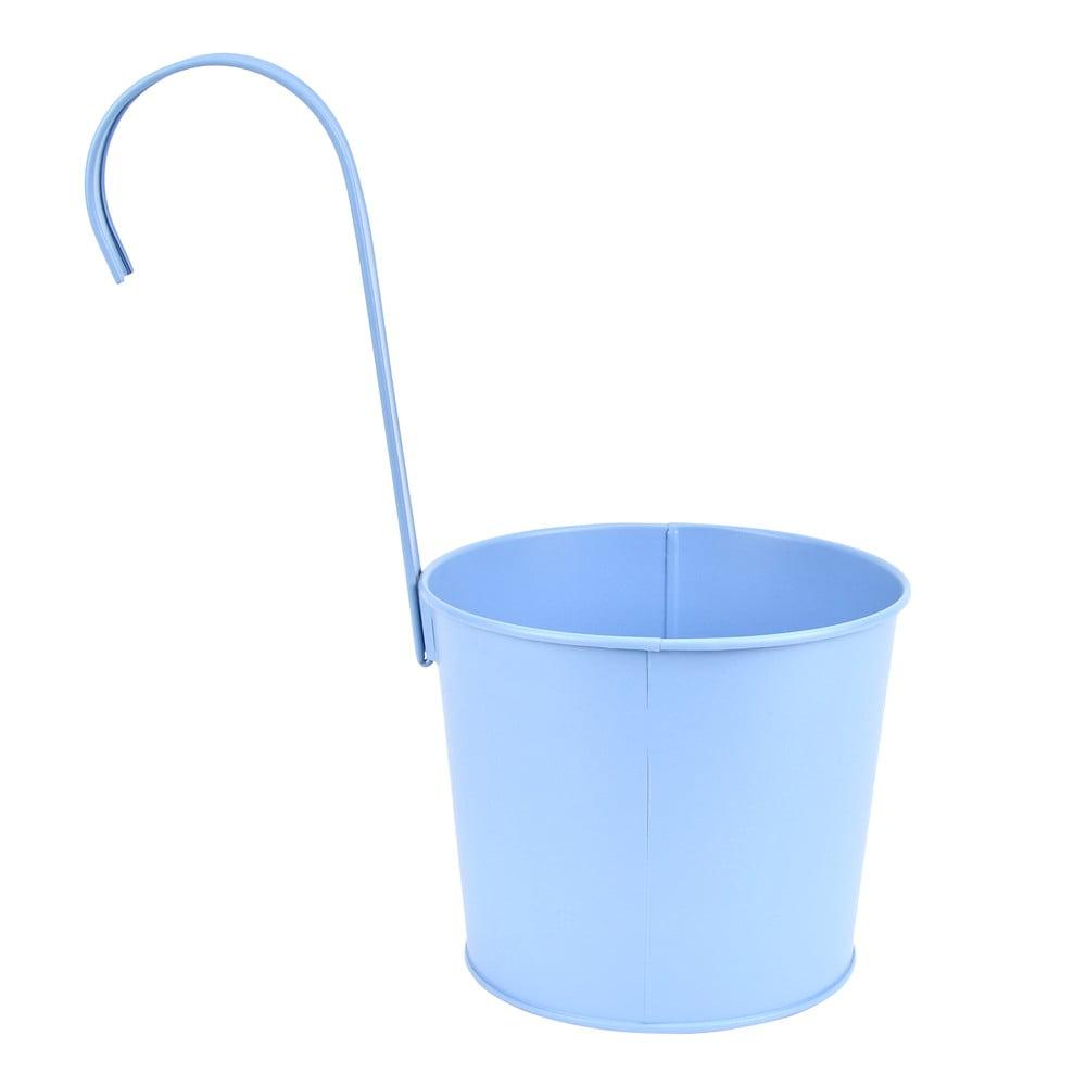 Modrý kovový závěsný květináč Esschert Design Gardener, šířka 17,7 cm