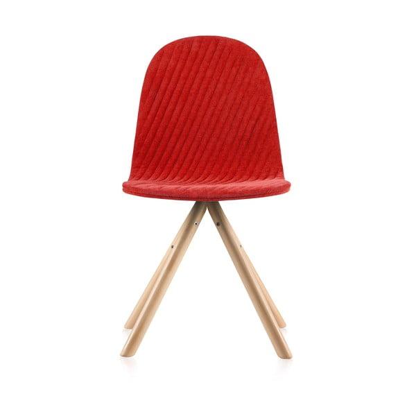 Scaun cu picioare în nuanță naturală IkerMannequinStripe, roșu